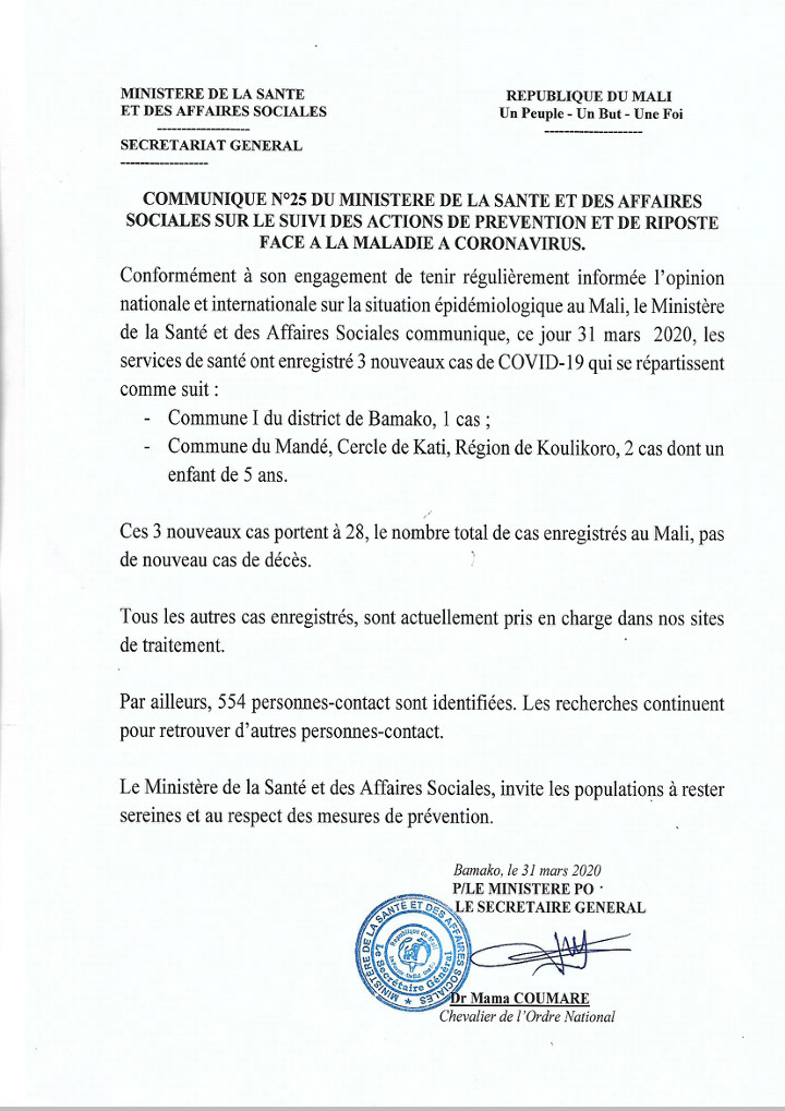 #COVID19 - trois (3) nouveaux cas positifs dont un enfant de 5 ans au Mali