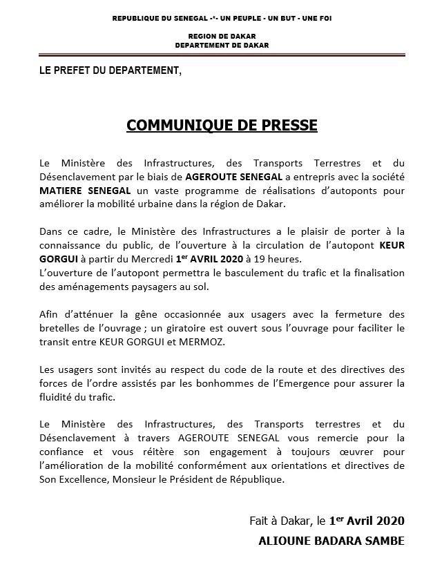 Dakar : ouverture à la circulation de l'autopont Keur Gorgui ce mercredi à partir de 19 heures