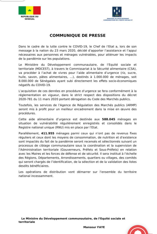 #Covid-19sn: les modalités de distribution de l'aide alimentaire aux couches vulnérables (document)