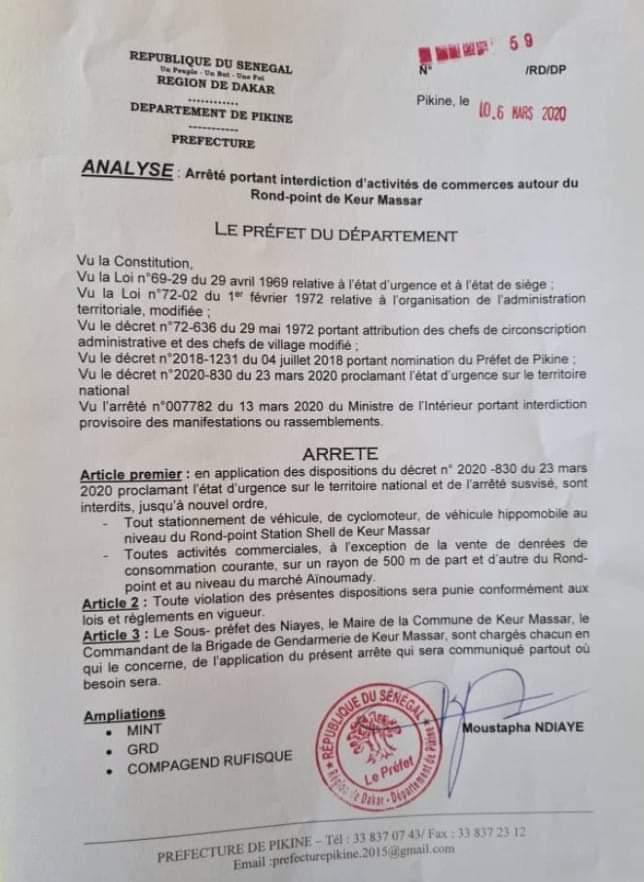 Coronavirus : interdiction d'activités commerciales autour du rond-point Keur Massar (arrêté)