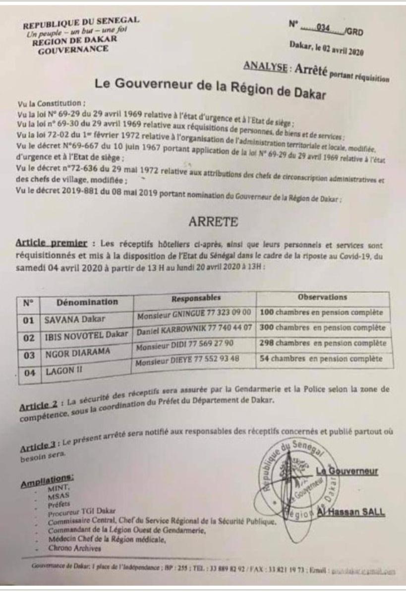 Coronavirus Sénégal: Et si on parlait du surnombre de chambres dans l'arrêté de réquisition des hôtels du Gouverneur de Dakar...