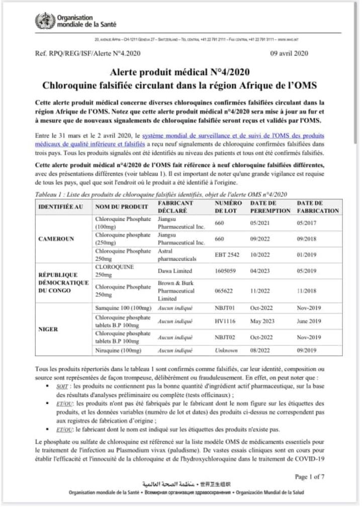 Coronavirus: de la Chroloquine falsifiée circule en Afrique