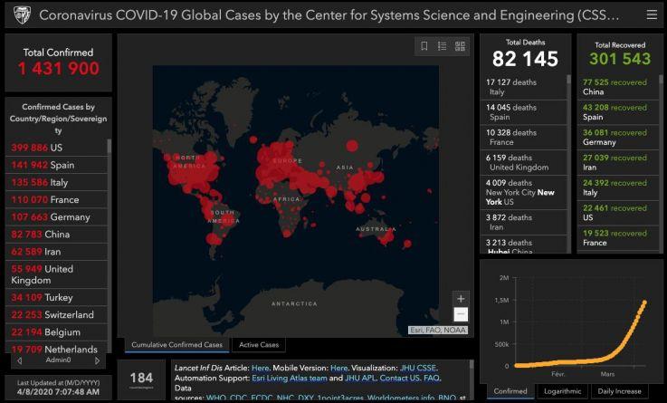 Coronavirus : la situation dans le monde...la barre des 100.000 décès franchie et USA reste le pays le plus touché