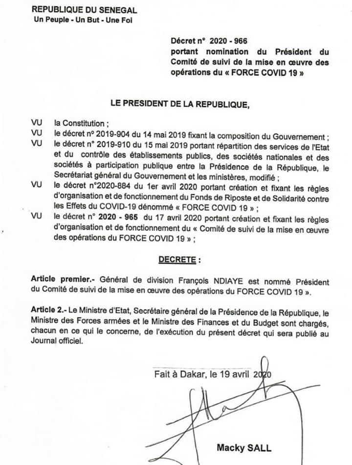 Gestion du fonds de lutte contre la covid-19 : Le général François Ndiaye aux commandes