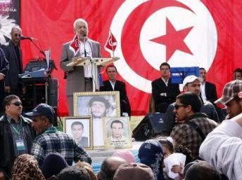 Rached Ghannouchi lors d'un discours pour le 31e anniversaire du parti Ennahda. AFP/SALAH HABIBI