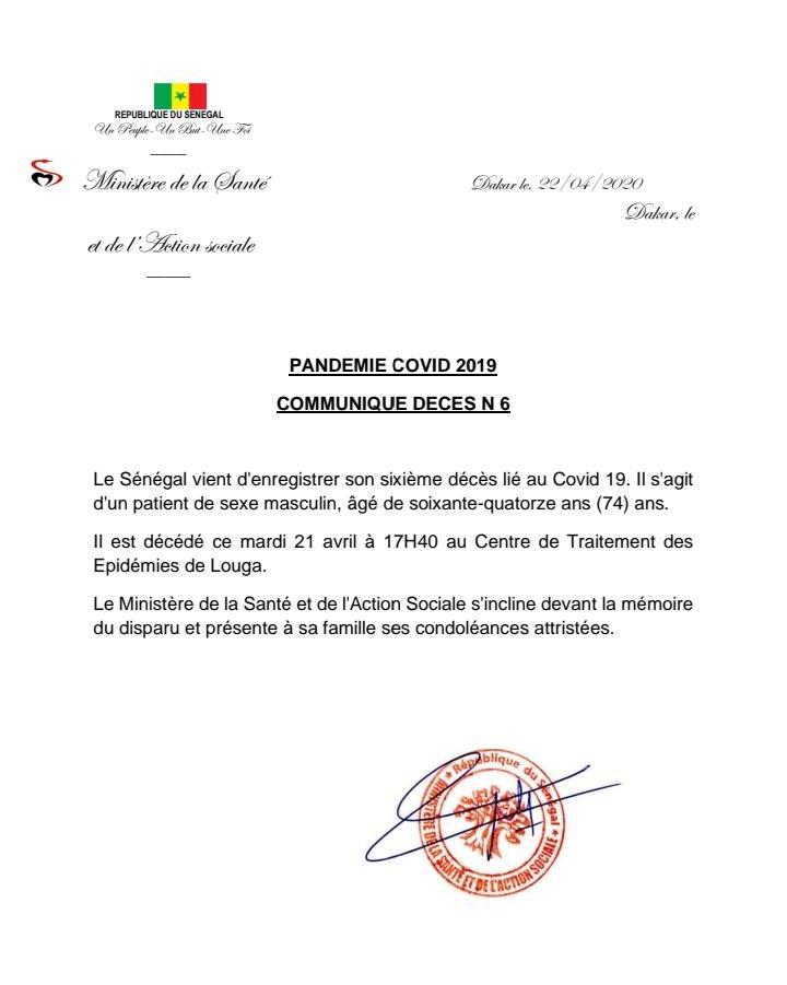 #Urgent COVID-19 : Le Sénégal enregistre son sixième décès.