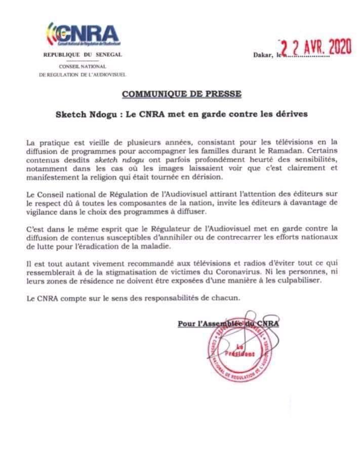 Sketchs Ramadan: le CNRA autorise mais dit non à la stigmatisation en cette période marquée par le Coronavirus