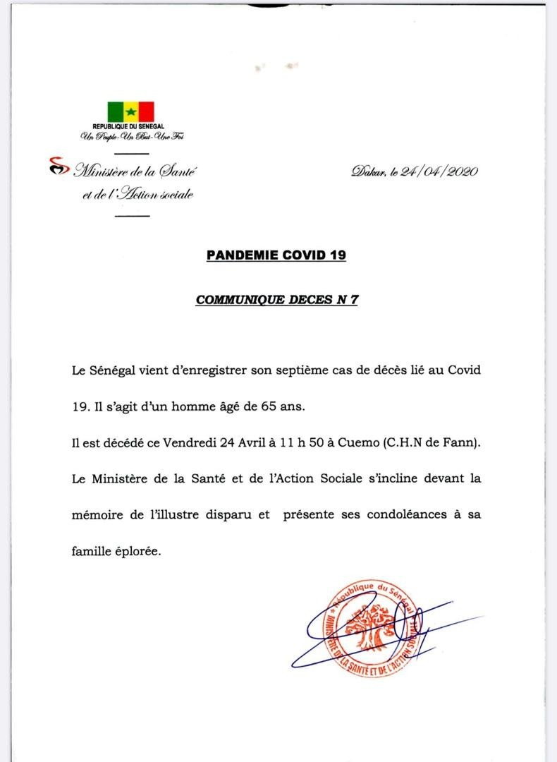Le Sénégal enregistre un 7e cas de décès lié au coronavirus