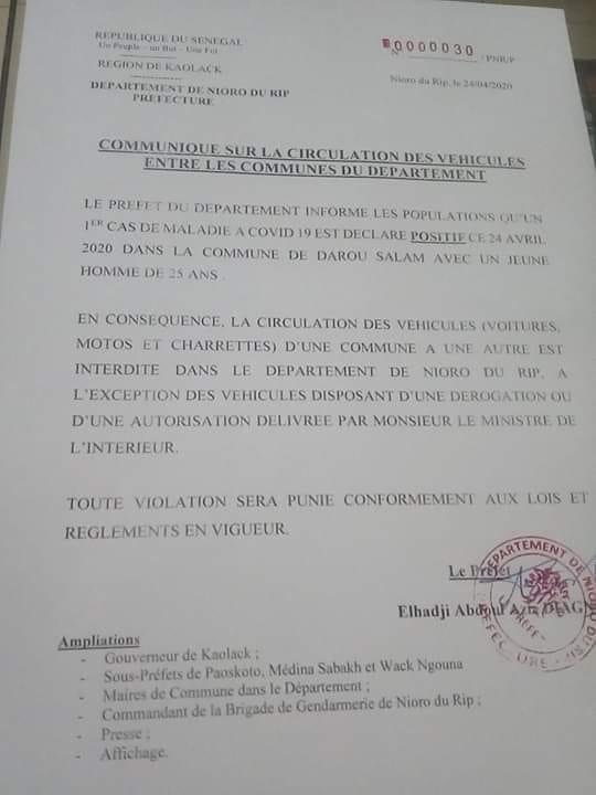Kaolack a enregistré son premier cas de Covid-19 ce vendredi, le préfet annonce des mesures
