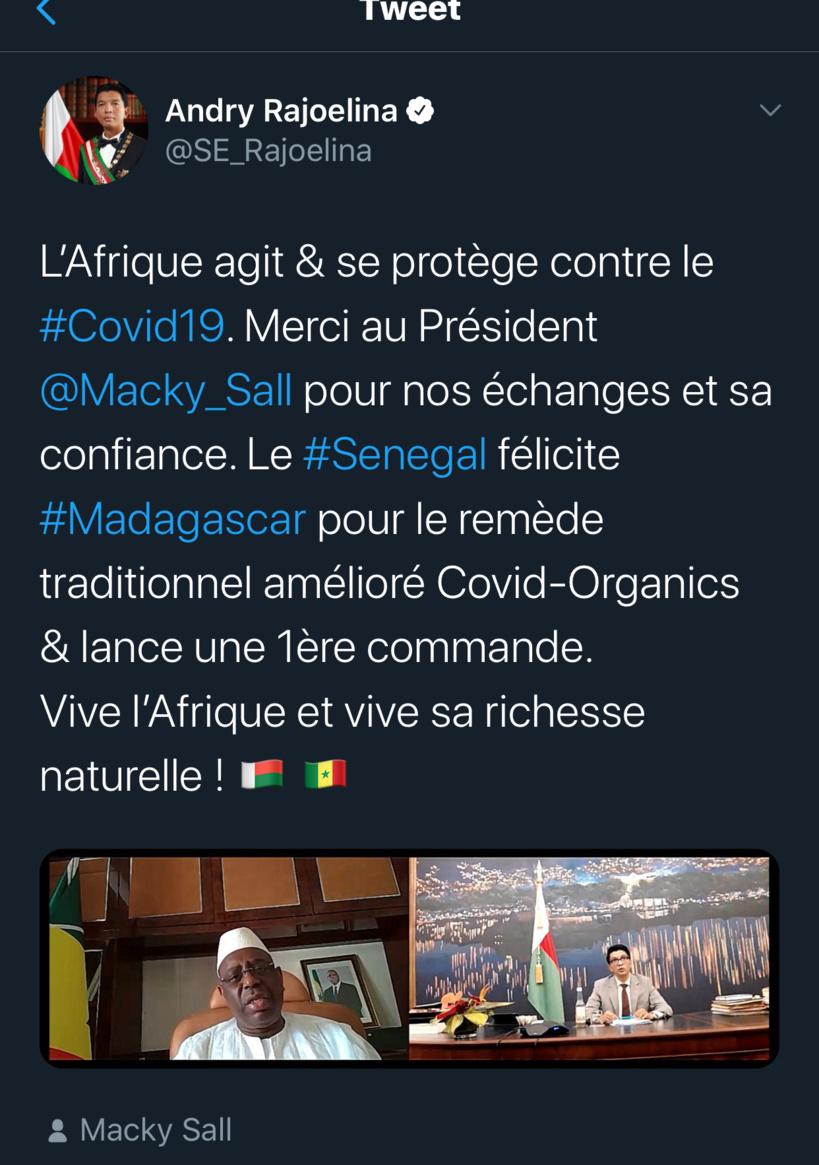 Remède contre le Coronavirus: Macky a appelé le président Malgache pour passer sa première commande
