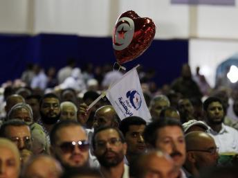 Des militans de Ennahda le 12 juillet 2012 lors du congrès du parti.
