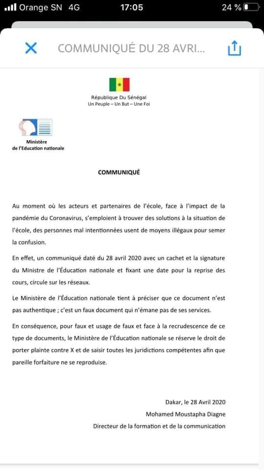Le ministère de l'Education nationale annonce une plainte contre l'auteur du Faux communiqué annonçant la reprise des cours le 04 mai