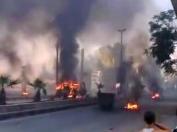 Des colonnes de fumées noires s'élèvant au-dessus de Damas, mercredi 18 juillet.