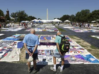 Le patchwork des noms des victimes du sida est exposé cet été à Washington à l'occasion de la conférence sur le sida.