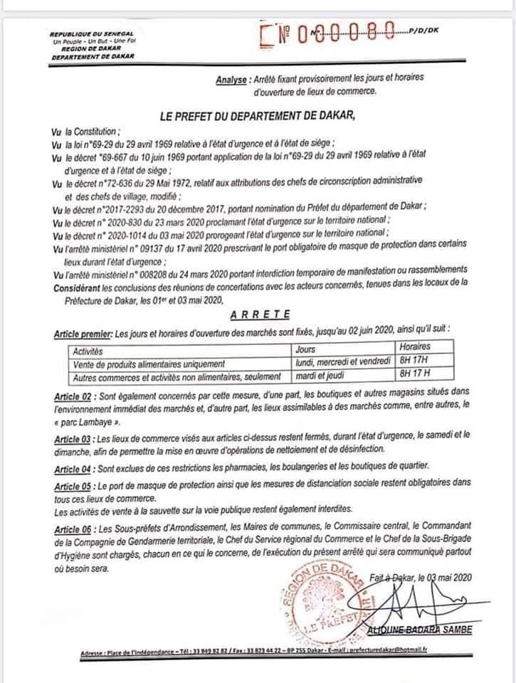 COVID-19 : Les décisions du Préfet de Dakar sur l'ouverture et la fermeture des marchés
