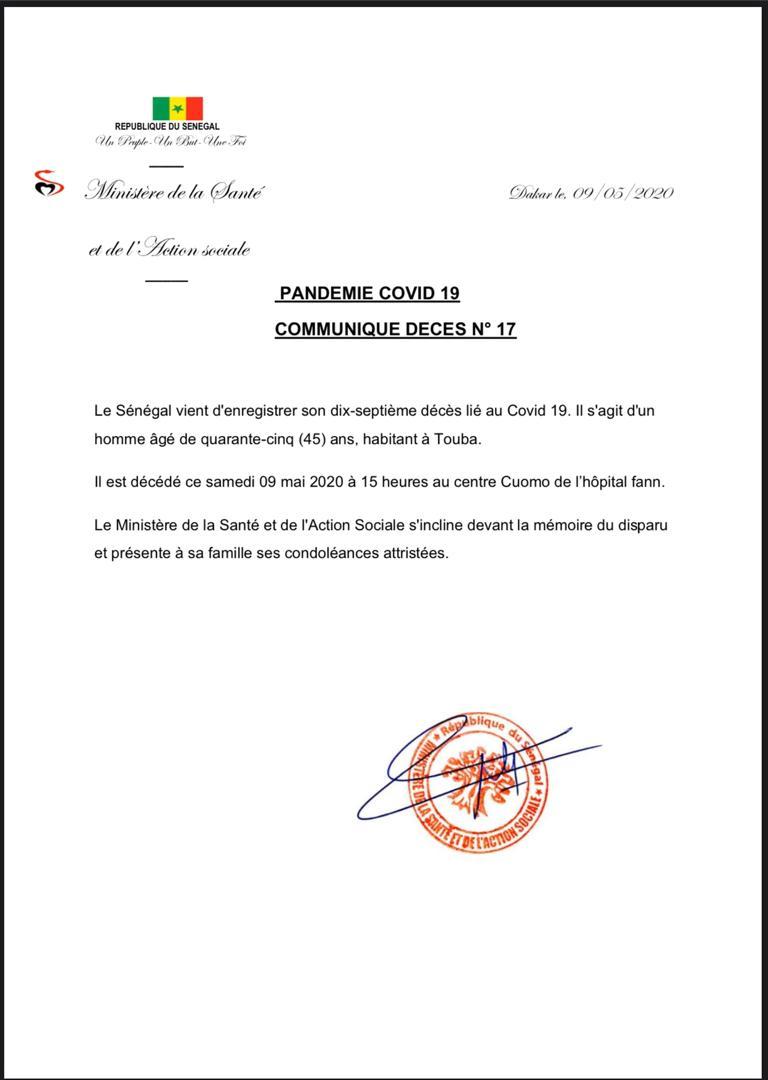 Sénégal: Un 17e décès lié au coronavirus, un homme âgé de 45 ans, habitant à Touba