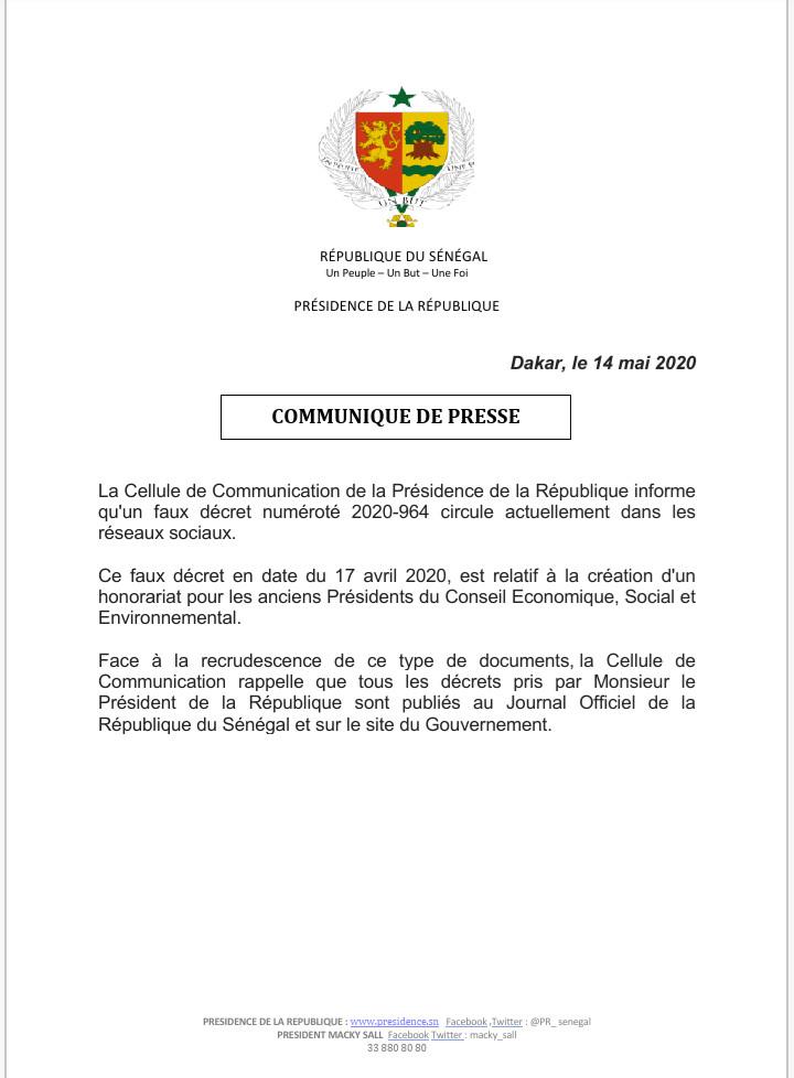 Honorariat pour les anciens présidents du CESE: la présidence de la République dénonce un faux décret qui circule sur les réseaux sociaux