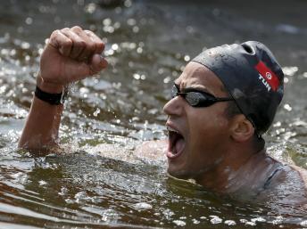 Le nageur tunisien Oussama Mellouli.