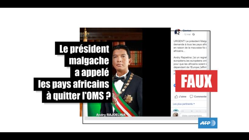 Non, le président malgache Andry Rajoelina n'a pas appelé les Etats africains à quitter l'OMS