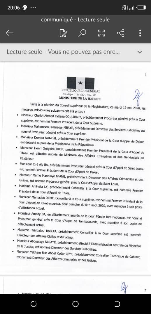 Cheikh Tidiane Coulibaly remplace Badio Camara à la tête de la Cour suprême