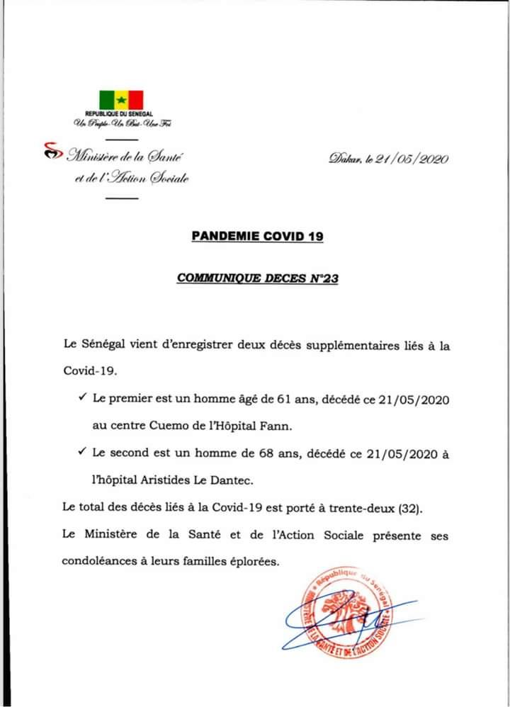 Sénégal: deux (2) décès supplémentaires liés au covid-19, soit un total de 32