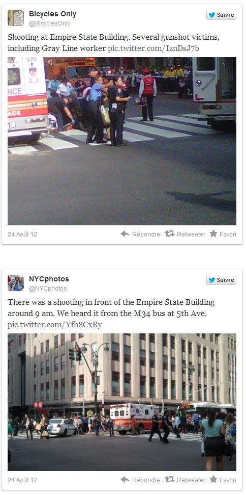 New York: Au moins deux morts et huit blessés dans une fusillade devant l'Empire State Building