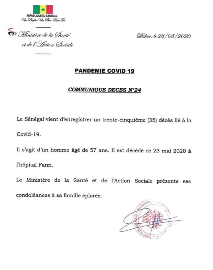 Sénégal : un 35e décès attribué au coronavirus, un homme âgé de 57 ans