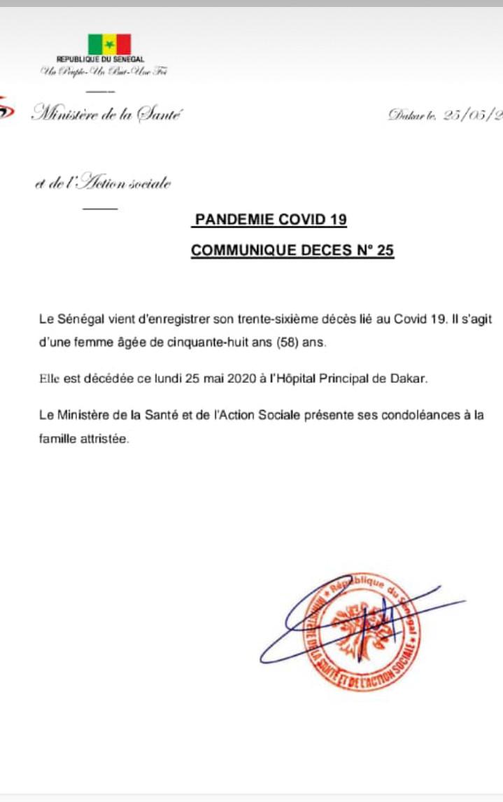 Sénégal : un 36e décès lié au covid-19, il s'agit d'une femme âgée de 58 ans