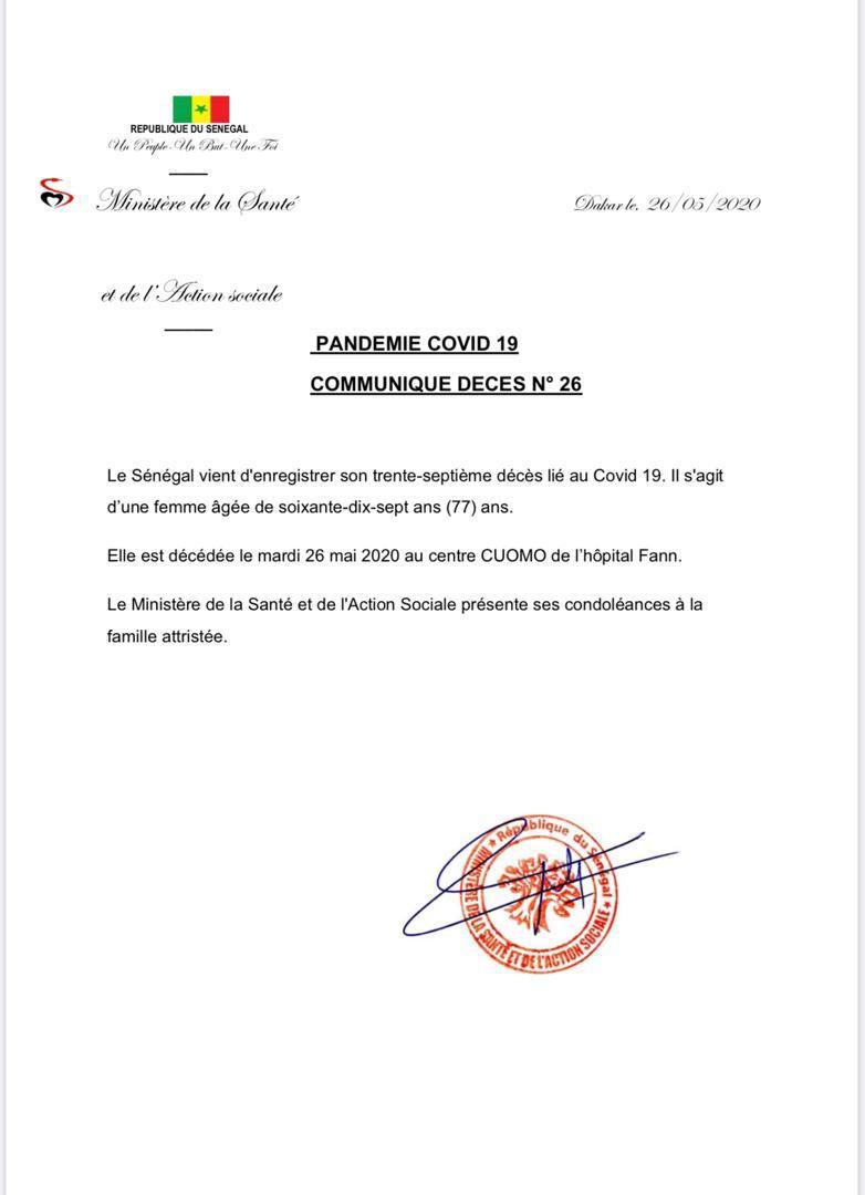Le Sénégal enregistre son 37e décès lié à la Covid-19