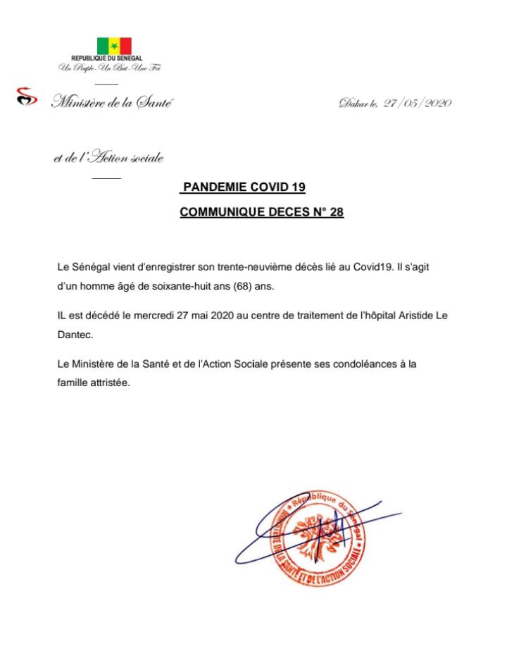 Sénégal : un 39e décès lié au covid-19, il s'agit d'un homme âgé de 68 ans