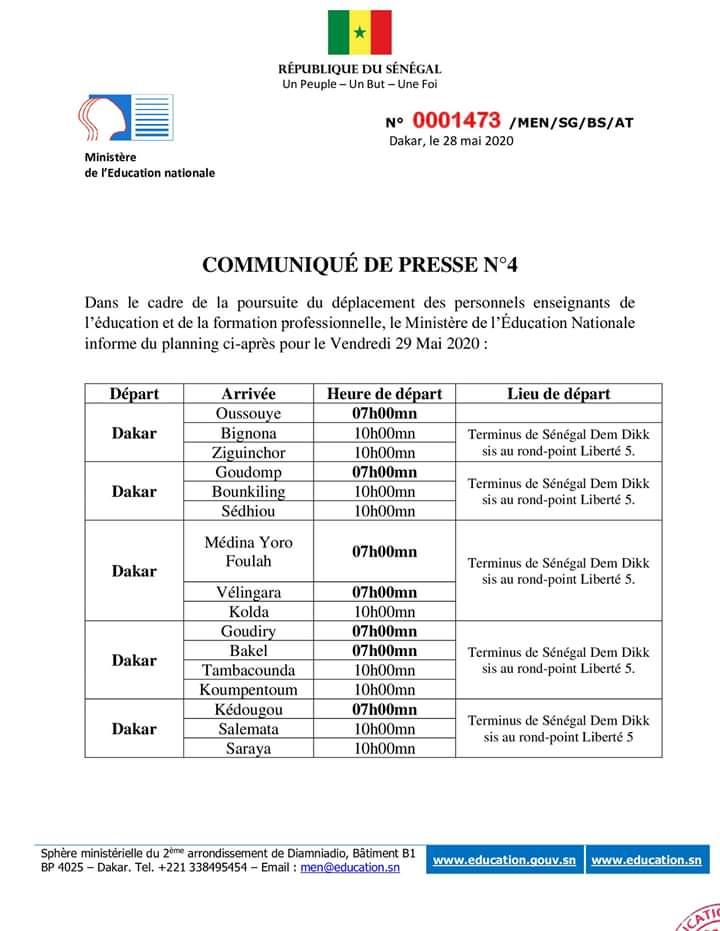 Un nouveau planning pour le convoyage des enseignants dans leurs lieux de service (Document)