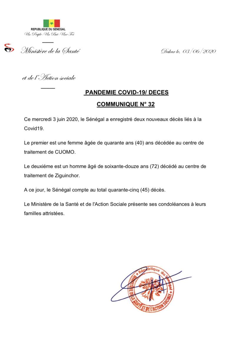 Covid19 au Sénégal - deux nouveaux décès enregistrés: le décompte macabre est à 45 morts