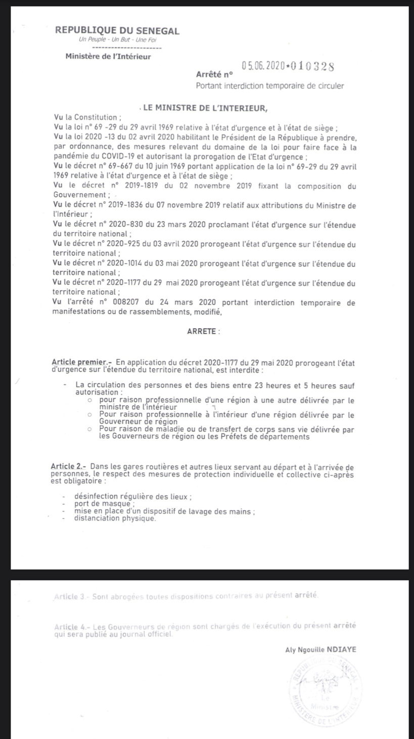 Les arrêtés du ministre Aly Ngouille Ndiaye sur les dernières mesures d'assouplissement de l'Etat d'urgence... Couvre-feu, transports interurbains (Documents)