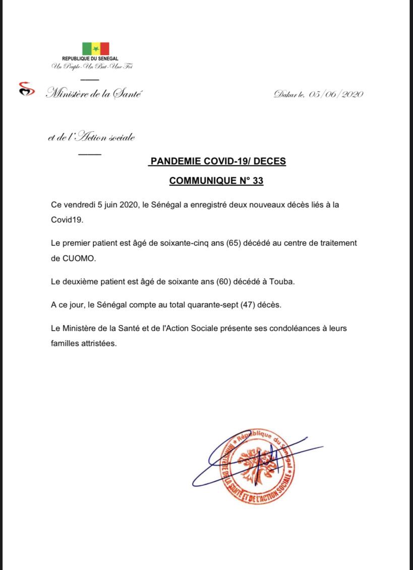 Le Sénégal enregistre deux nouveaux décès liés à la Covid-19
