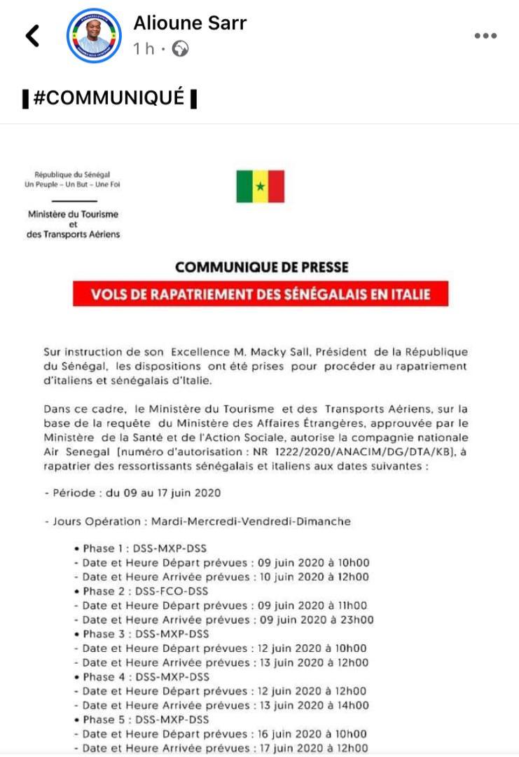 Des dispositions ont été prises pour rapatrier les Sénégalais de France, selon Alioune Sarr