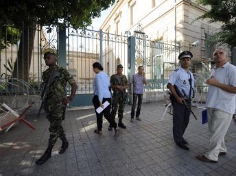 La sécurité a été renforcée autour des bâtiments abritant la représentation diplomatique française à Tunis, le 20 septembre 2012.