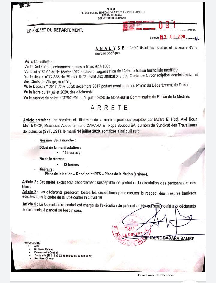 Dakar : les horaires des marches pacifiques désormais fixées de 11h à 13h (préfet)