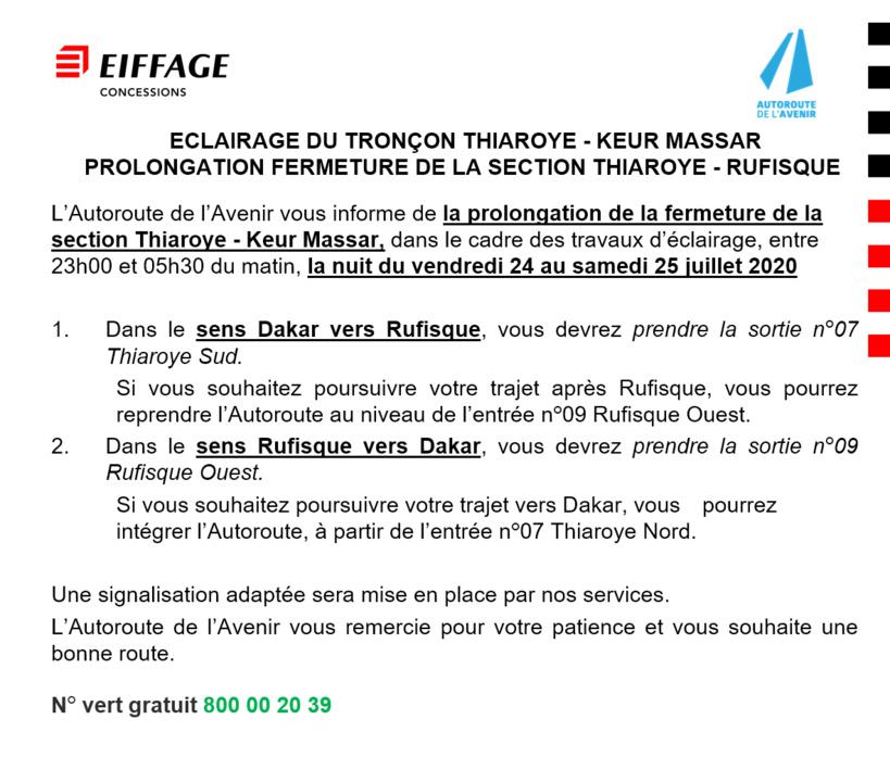 Travaux d'éclairage sur l'Autoroute de l'Avenir: prolongation de la fermeture de la Section Thiaroye-Rufisque