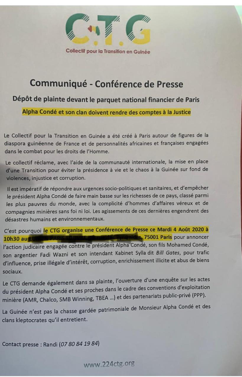 La diaspora guinéenne annonce une plainte contre Alpha Condé devant le Parquet financier de Paris