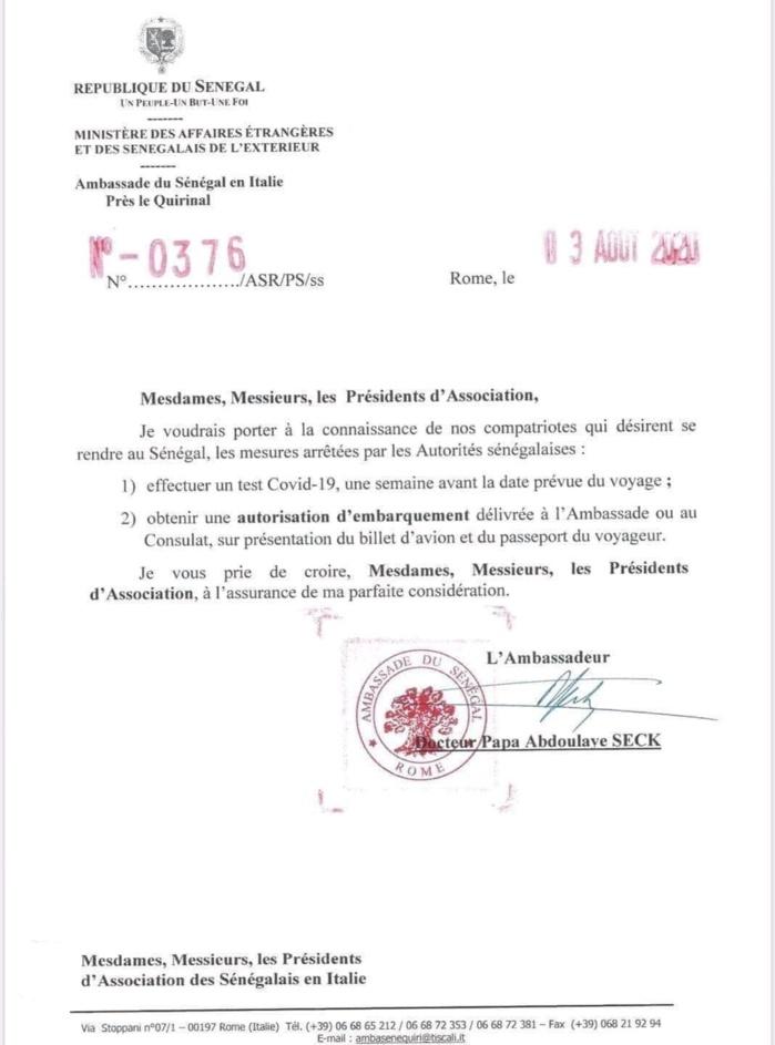 COVID-19 : Les Sénégalais résidents en Italie qui désirent rentrer au pays doivent désormais présenter un test