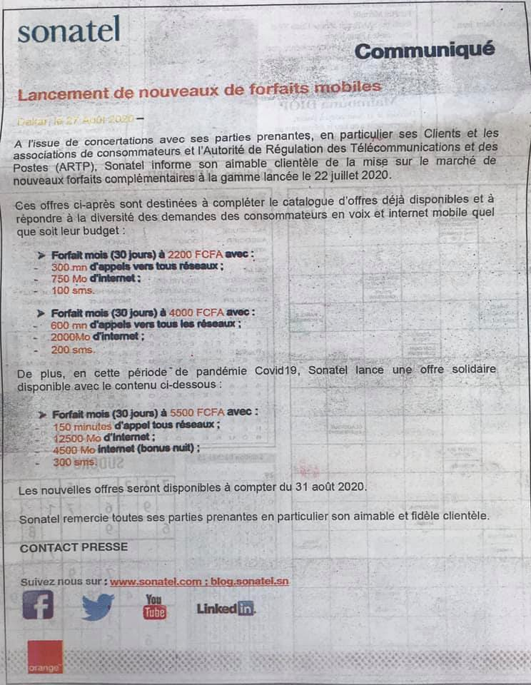 Les nouveaux Illimix d'Orange qui doivent entrer en vigueur le 31 août: 2200 Fcfa pour 750 Mo d'Internet et 5500 pour 150 minutes d'appels