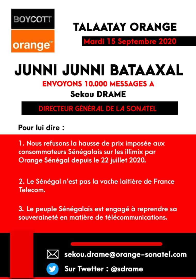 Talatay Orange du 15 septembre 2020: Y'en A Marre lance l'opération «Envoyer 10 000 messages» aux Directeurs d'Orange, France Télécomet à l'ARTP
