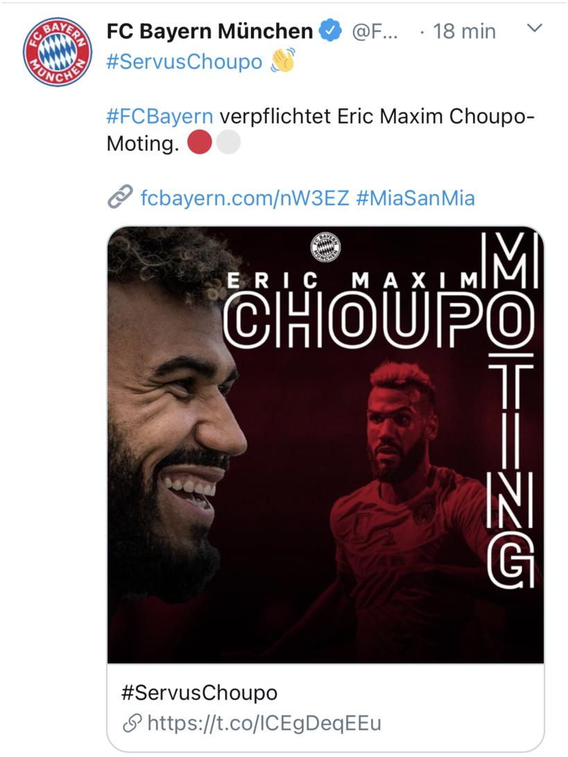 Mercato: Choupo-Moting signe au Bayern Munich