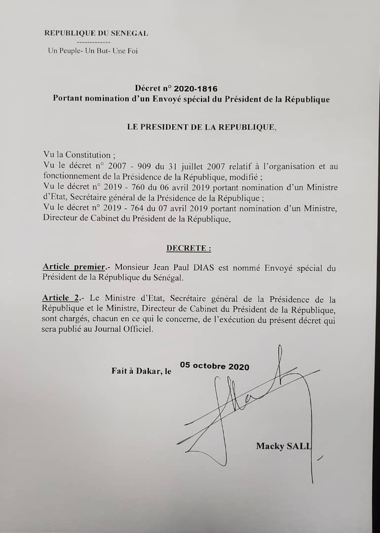 Jean Paul Dias nommé Envoyé spécial du Président