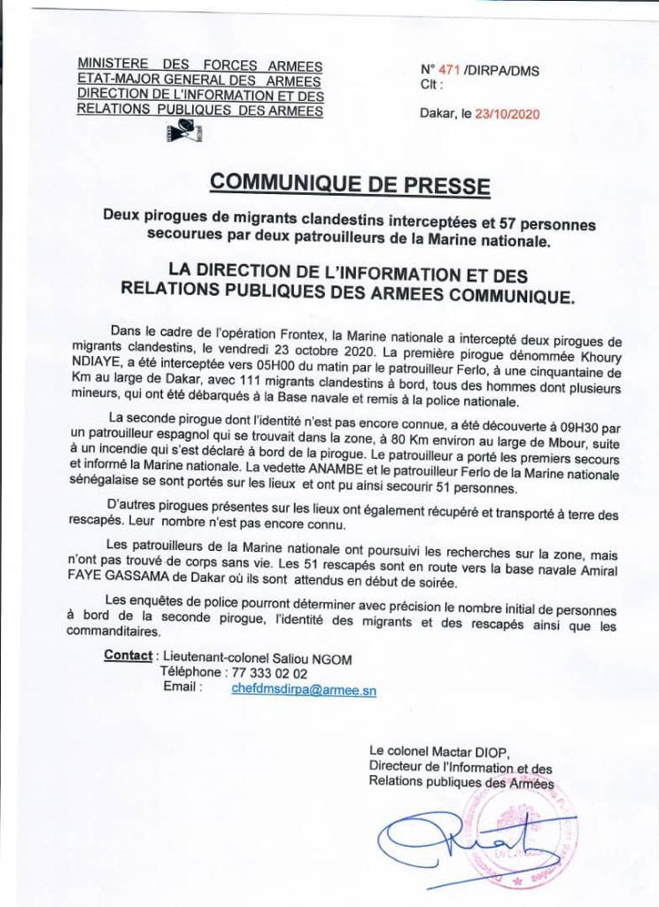 Au moins 164 migrants interceptés vendredi entre Mbour et Dakar dans deux pirogues dont l'une en feu