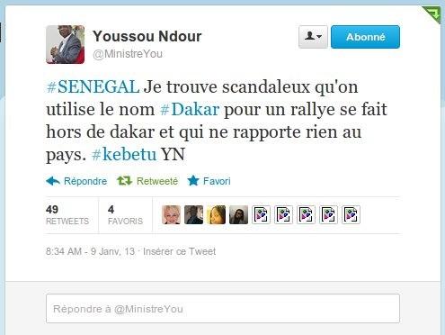Le coup de gueule du ministre Youssou Ndour contre le Rallye Dakar sur twitter