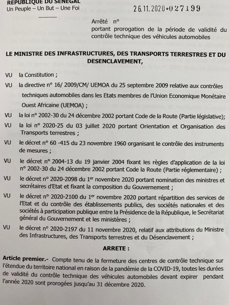 Transports terrestres: Mansour Faye proroge la durée de validité des contrôles techniques de véhicules jusqu'au 31 décembre 2020