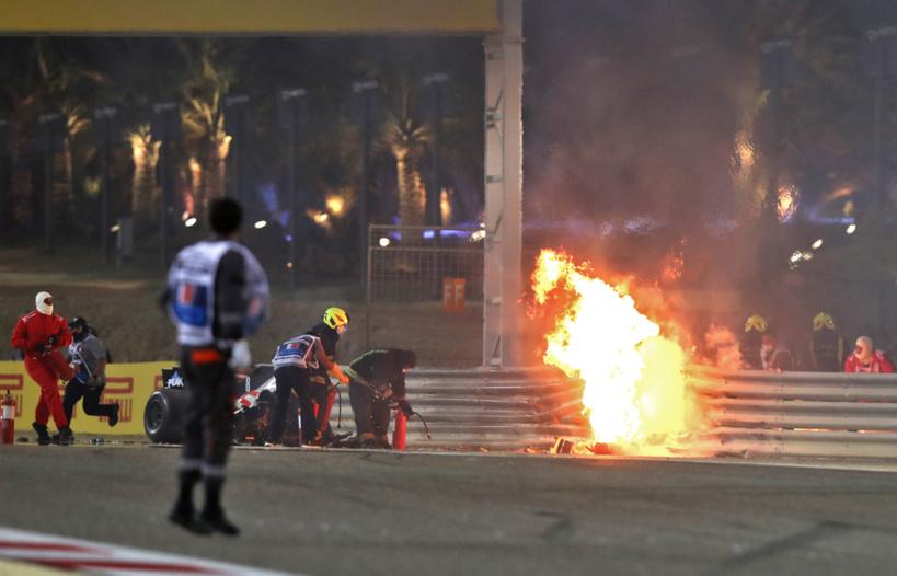 Formule 1: Romain Grosjean miraculé après un très violent accident lors du Grand Prix de Bahreïn