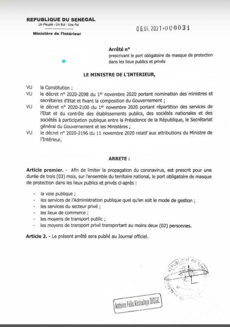 #Covid_19sn: Le port de masque désormais obligatoire sur la voie publique (document)