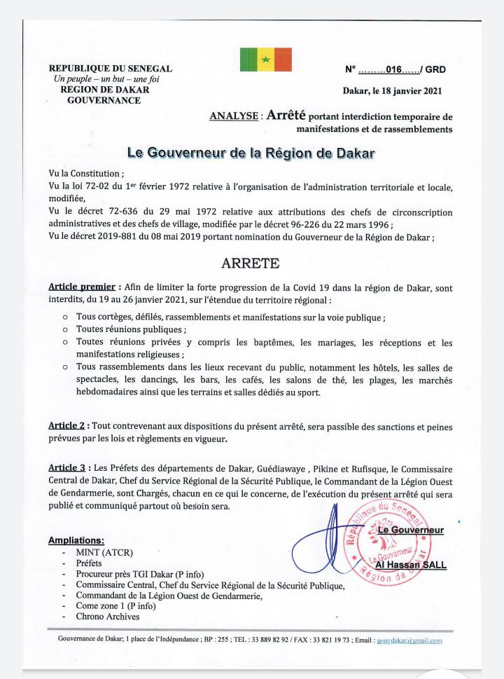 #Covid_sn - Les baptêmes,  mariages et rassemblements religieux prohibés pour 8 jours (arrêté)